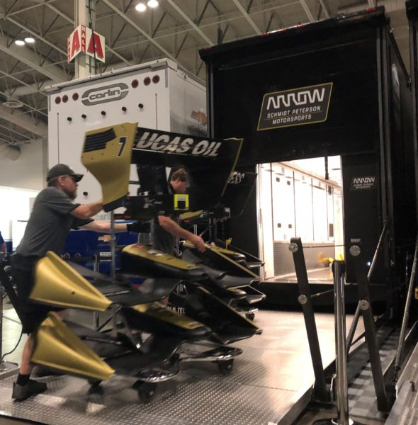 Loading IndyCar trailers