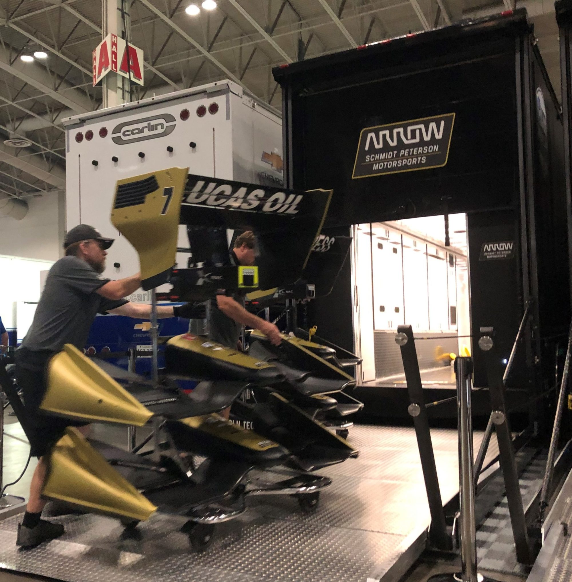 Loading IndyCar trailers